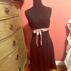 Black dress with pink ribbon -small